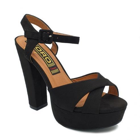 Sandalia negra cruzada pulsera,...