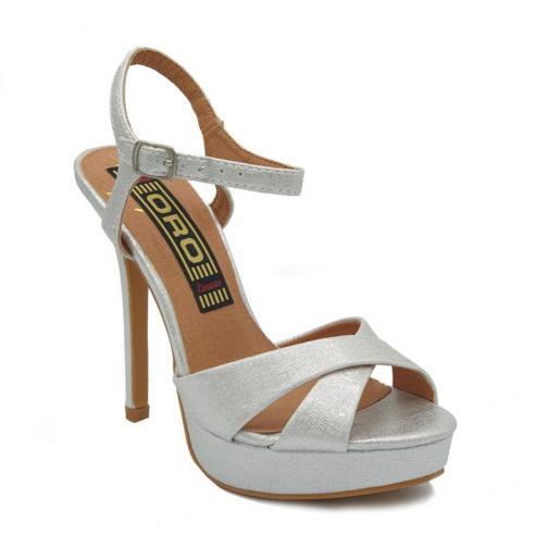 Sandalia plata cruzada con pulsera,...