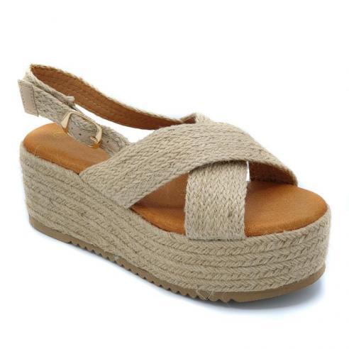 Sandalia moda plataforma esparto con...
