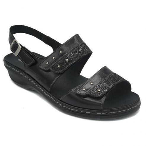 Sandalia marca SUAVE piel negra linea...