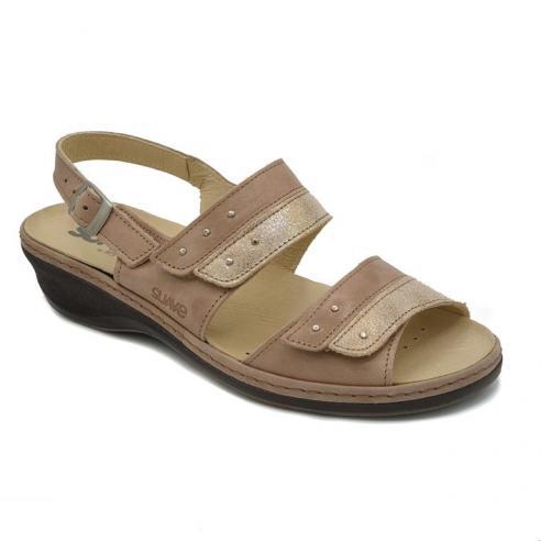 Sandalia marca SUAVE piel beige linea...