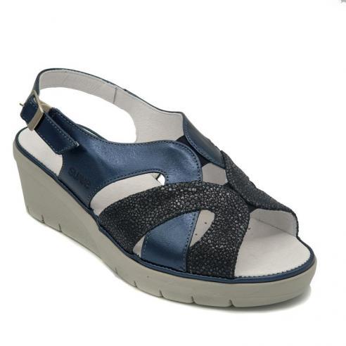 Sandalia marca SUAVE piel azul cuña...