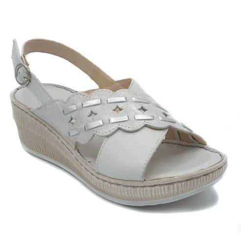 Sandalia RIPOSELLA piel blanca tiras...