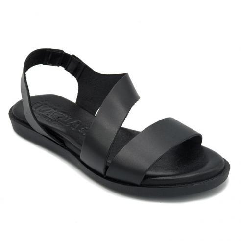 Sandalia PIEL plana KAOLA color negro...