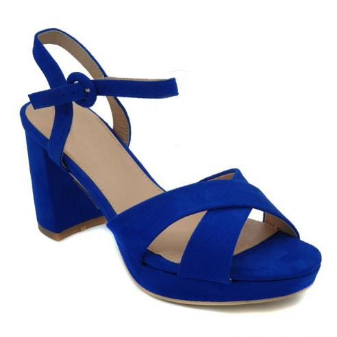 Sandalia plataforma azul, pala...