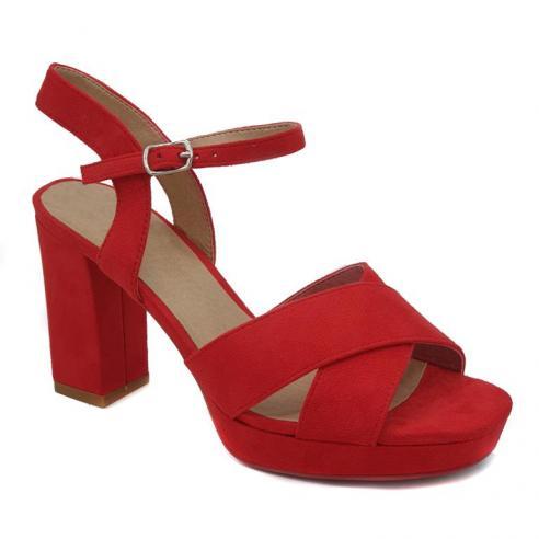 Sandalia plataforma en color rojo con...