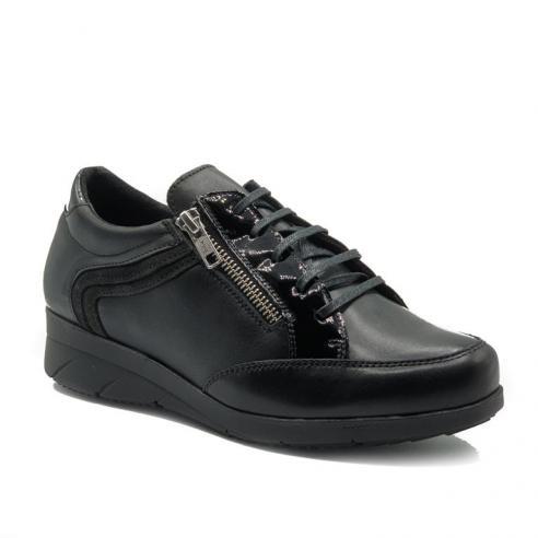 Zapato casual mujer PIEL negra con...