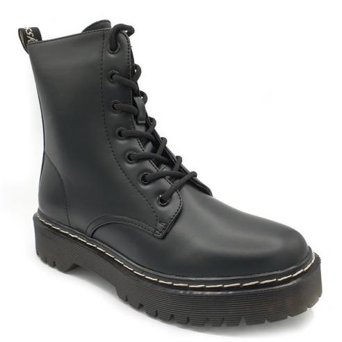 Bota corta negra estilo militar con...
